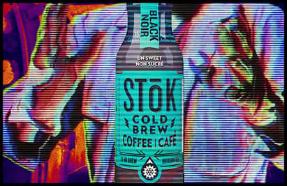 black cold brew coffee street art